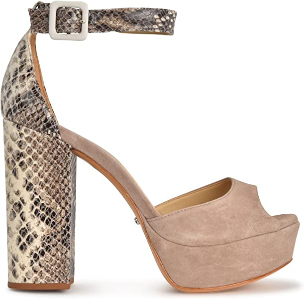 4d06c49f32ab SCHUTZ Avon Nude Taupe Natural Snake Suede Peep Toe Thick Heel Retro Pump  Sandal (5. Back. Double-tap to zoom