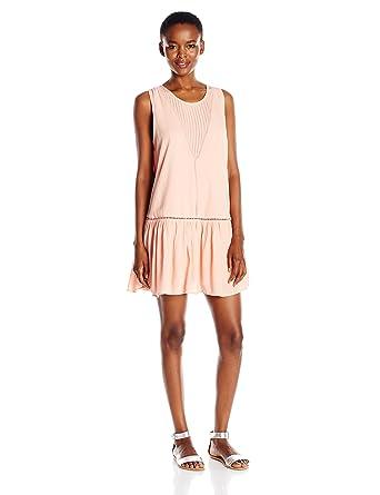 1a67401d4f MINKPINK Women's Blushing Beach Lined Drop-Waist Cover up Dress, Pink, X-