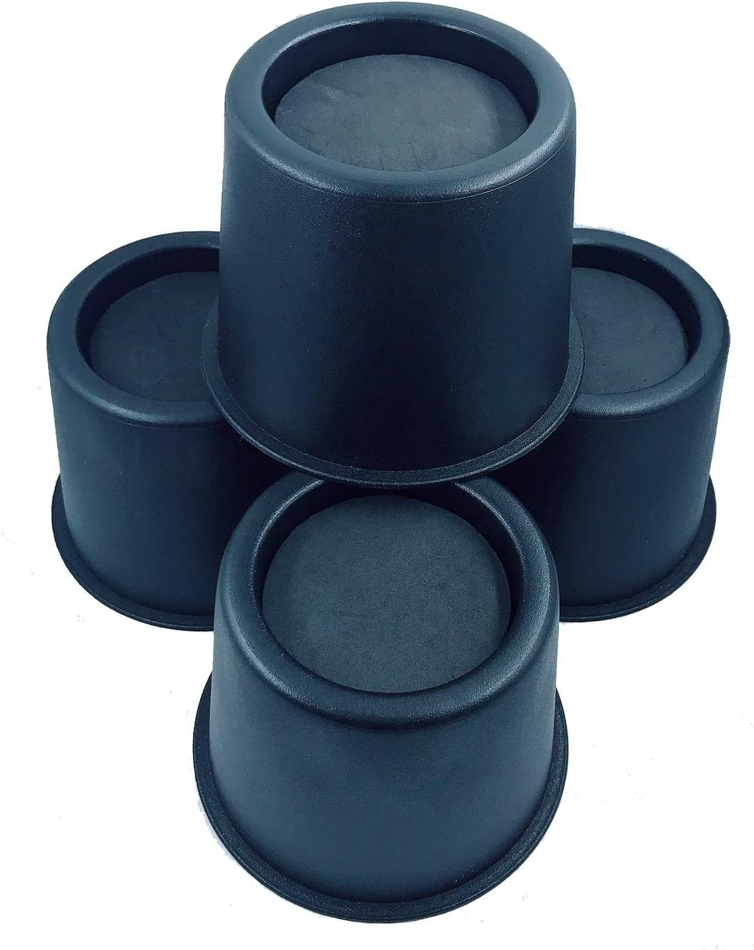 BTSD-home Round Circular Bed Risers Table Risers Furniture Risers Lifts Height of 3 inch Heavy Duty Set of 4 Pieces (Black)