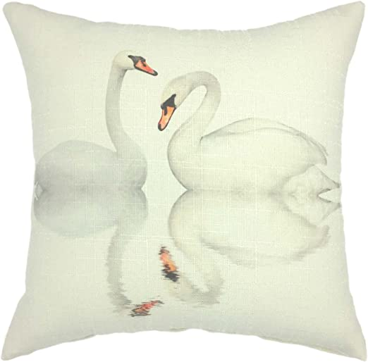 Amazon Com Your Smile Swan Lover Cotton Linen Square Cushion Covers Decorative Throw Pillow Covers 18 X 18 Swan 1 Home Kitchen