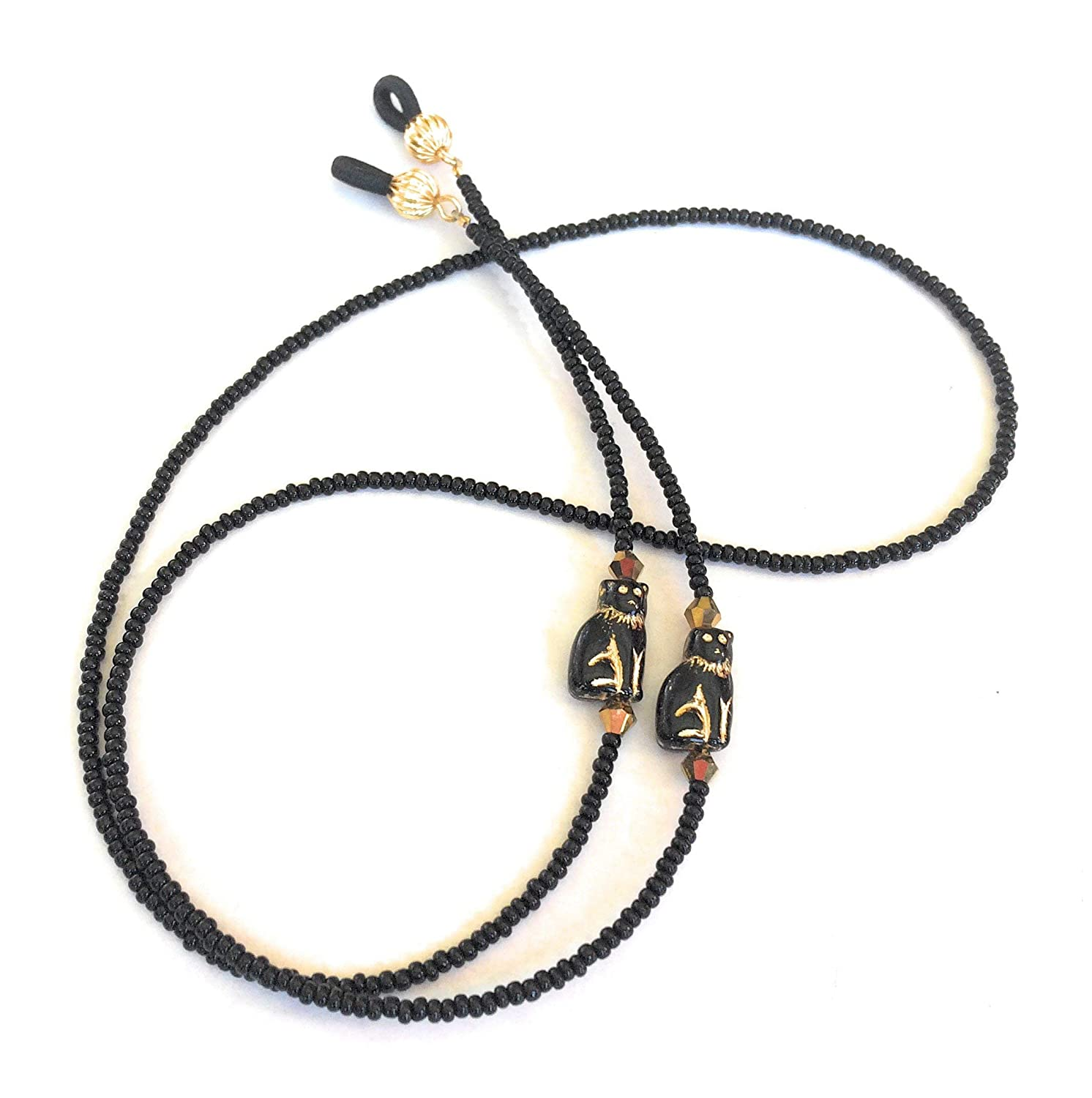 Black Cat Handmade Beaded Eyeglass Chain