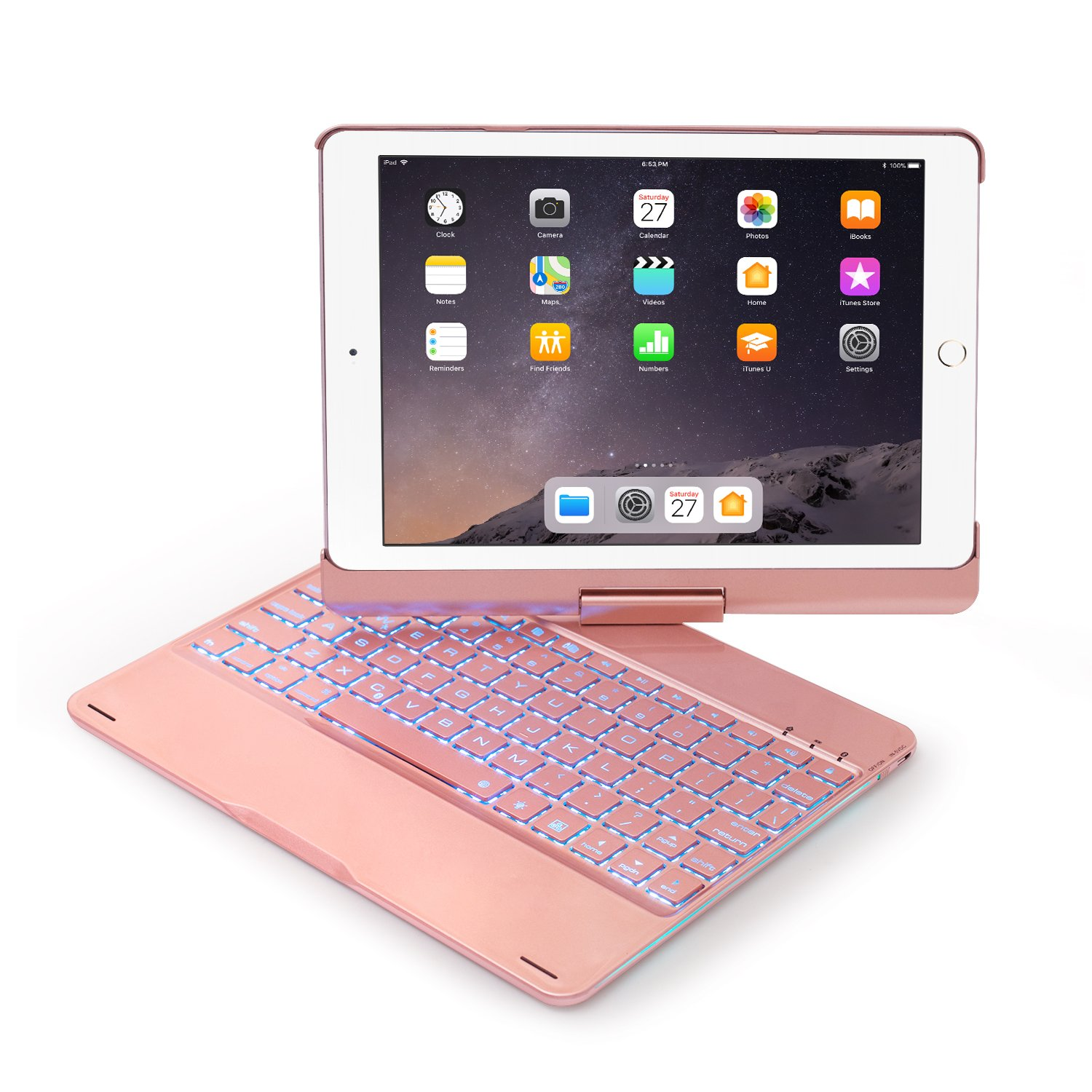 Keyboard Case Compatible with iPad 2017(5th Gen)/2018 New iPad(6th Gen)/Air/Air2/iPad Pro 9.7-360°Rotating Back Cover-Aluminum Bluetooth Keyboard,7 Colors Backlit(Only Compatible iPad 9.7) (Rose Gold)