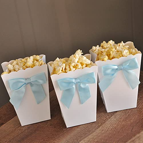 Ready To Pop Mini Popcorn Boxes With Bows. Ready To Pop Baby Shower Ideas.