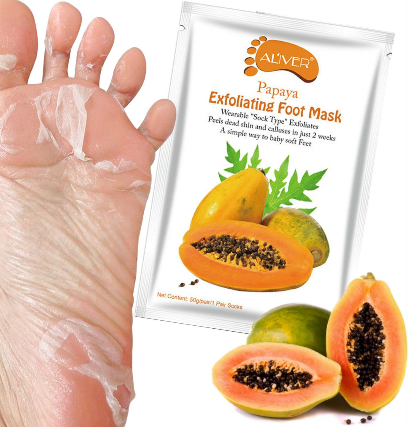 Aliver® Exfoliating Peeling with Papaya Extract Feet Foot Mask Socks Foot Care Renew Foot Dead Cracked Skin Corn Remover, Perfectly Peel Away Calluses and Dead Skin Cells in Just 7 days, Also Treats unpleasant odour - Socks Fits Up To Size 11UK / 46EU Ali
