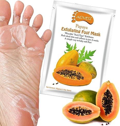 Aliver® Exfoliante Peeling con extracto de Papaya pies calcetines máscara de pies cuidado pies renovar