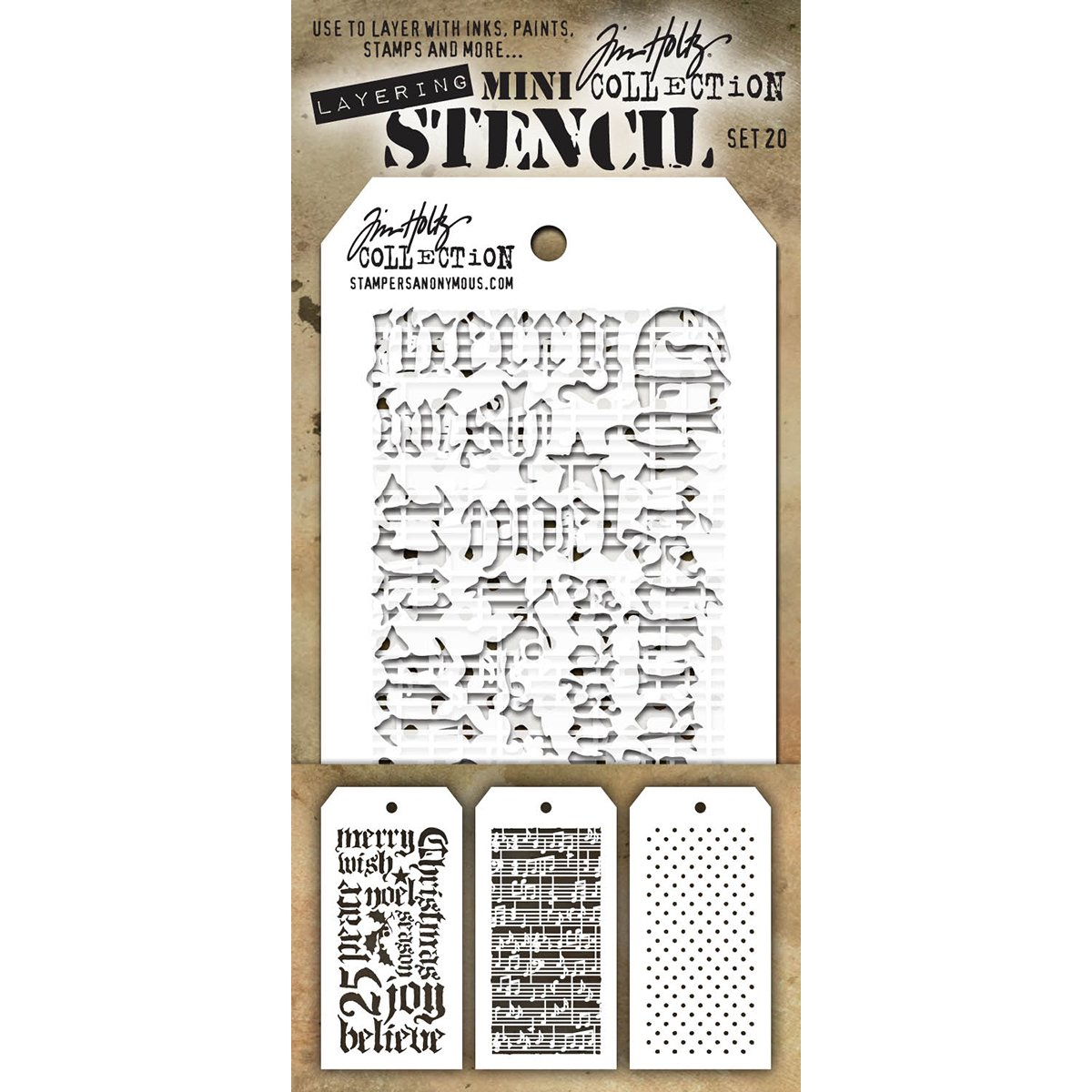 Stampers Anonymous MTS020 Tim Holtz Mini Layered Stencil 3/Pkg-Set #20