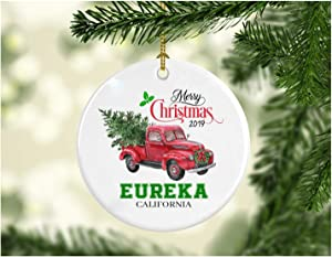 """Christmas Decoration Tree Merry Christmas Ornament 2019 Eureka California Funny Gift Xmas Holiday as a Family Pretty Rustic First Christmas in Our New Home Ceramic 3"""" White"""