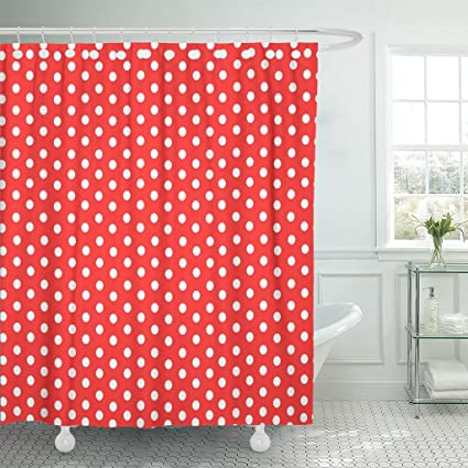 Emvency Shower Curtain Colorful Polkadot Polka Dot Red White Pattern Spot Abstract Waterproof Polyester Fabric 72