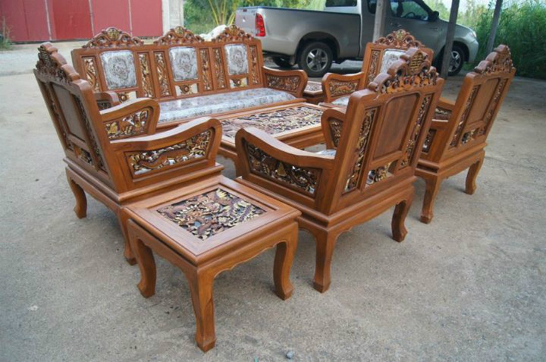 Amazon.com: Carved Teak Wood Living Room Furniture Set With Beautiful  Dragon Details.: Kitchen U0026 Dining Part 44
