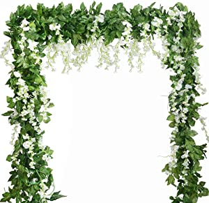 Wisteria Garland Artificial Silk Wisteria Vine 5pcs 7.2ft/Piece Ivy Leaves Garland Wisteria Artificial Flowers Hanging Plants Greenery Fake Vines for Wedding Garland Arches Home Party Decor (White)