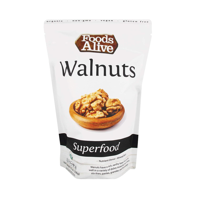 Foods Alive Walnuts - Organic, Non-GMO, Raw, Vegan, Gluten-Free, Kosher - Natural Source of Protein, Fiber, and Fatty Acids - Add to Trail Mix or Make Walnut Milk, 12oz