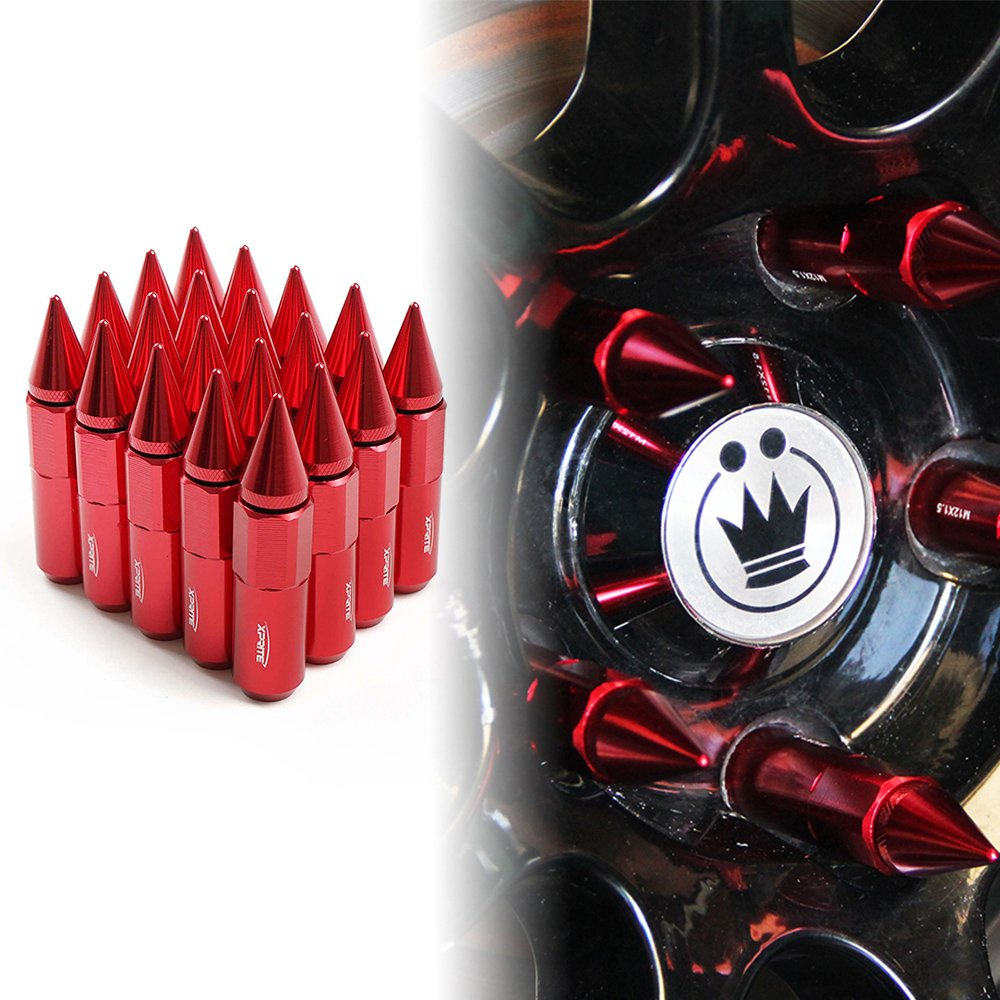 Xprite Aluminum Acorn Spike Tuner Extended Lug Nuts for Wheels Rims M12X1.5 60MM 35g Each Gunmetal, Set of 20