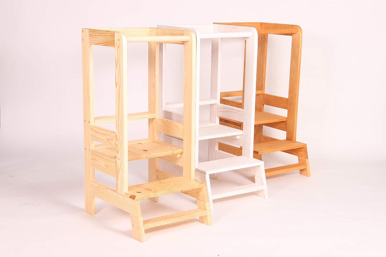 MEOWBABY Hochstuhl f/ür Baby K/üche Kinderm/öbel Lernturm Standfest und Kippsicher Montessori Lerntower f/ür Kinder ab dem Stehalter Kinder Schemel aus Natur Holz Braun Kitchen Helper