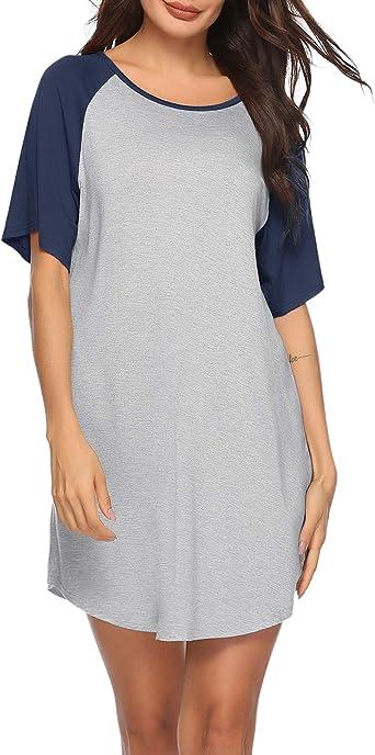 Sykooria Vestidos de Verano para Mujer Camisón de Algodón Camisa de Manga Corta Camisa de Dormir de Cuello Redondo Manga en Contraste Contraste: Amazon.es: Ropa y accesorios