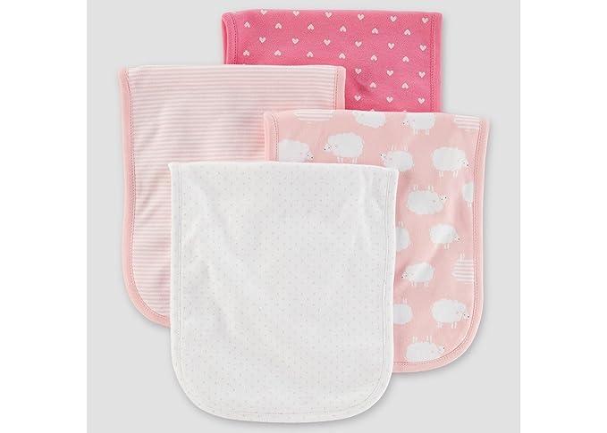 Amazon Com Carter S Baby Girls 4 Pack Burp Cloths Pink Clothing