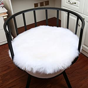 Noahas Faux Fur Sheepskin Silky Seat Cushion, Home Decor Long Wool Area Rugs Carpet, Soft Fluffy Plush Chair Seat Pads Universal Fit Home Office Restaurant Chair, 1.3ft White-Round