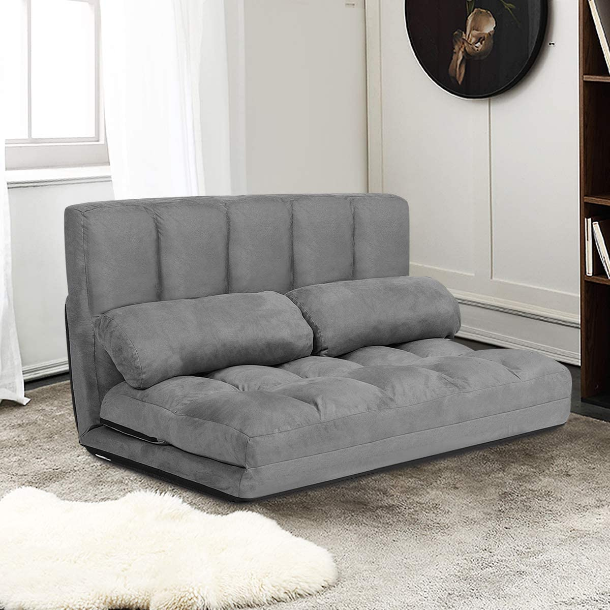 Giantex Adjustable Floor Sofa, Foldable Lazy Sofa Sleeper Bed 6-Position Adjustable, Suede Cloth Cover Detachable, Floor Gaming Sofa Couch with 2 Pillows for Bedroom Living Room Balcony Gray