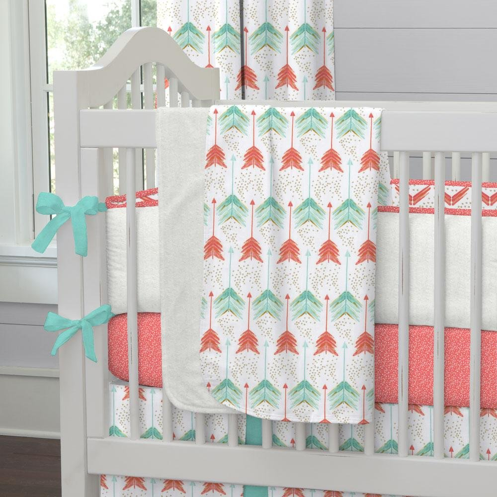 Carousel Designs Coral and Teal Arrow Crib Blanket