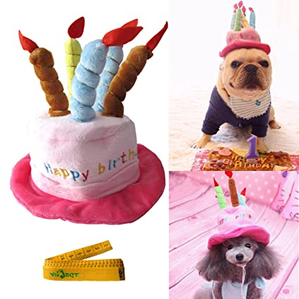 Wiz BBQT Cute Adorable Cat Dog Pet Happy Birthday Party Hat With Cake And 5 Colorful