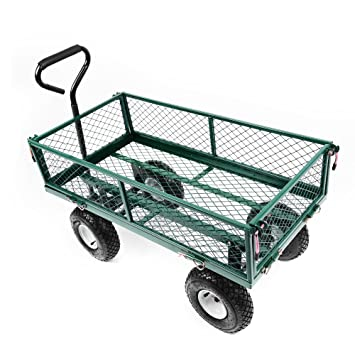 6e294c3797 Pandamoto Heavy Duty Large Garden Trolley Cart Truck 4 Wheels With Interior  Cover Transport Metal Wheelbarrow