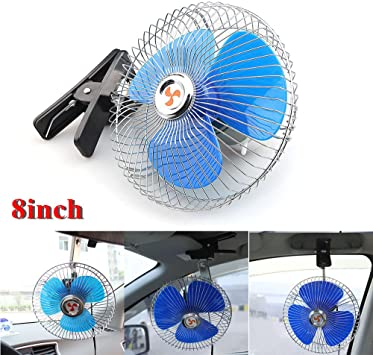 12V Dashboard Oscillating Cooling Air Vehicle Car Van Truck Home Sucker Fan