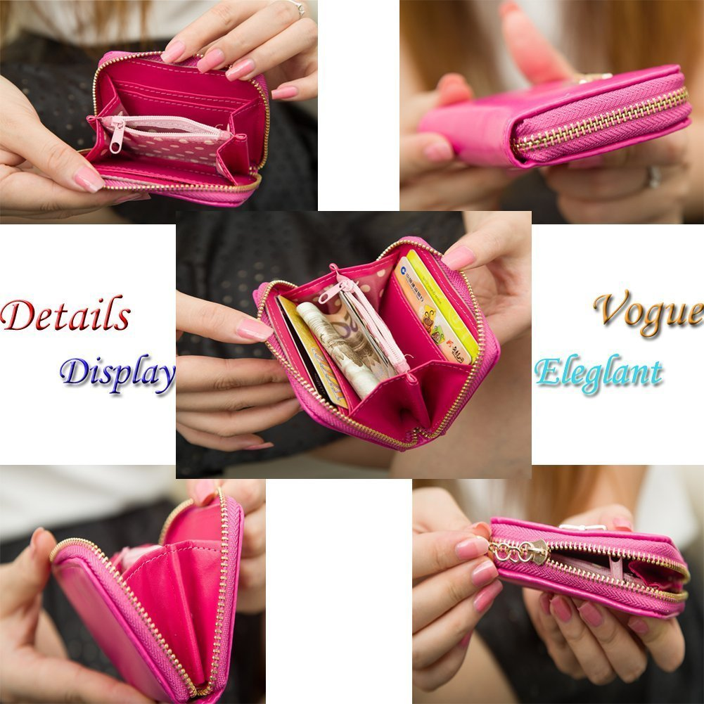 Women Girls Cute Bowknot Waterproof PU Leather Fold Mini Short Wallet Coin Purse Zipper Card Case Holder Clutch Small Handbag Nice Gift by Fakeface (Image #6)