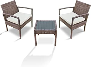 PAOLFOX 3 Pieces Patio Rattan Furniture Set,Outdoor Conversation Set w/Weather Resistant Cushions Tempered Glass Tabletop for Garden, Lawn Pool, Backyard, Poolside (Beige)