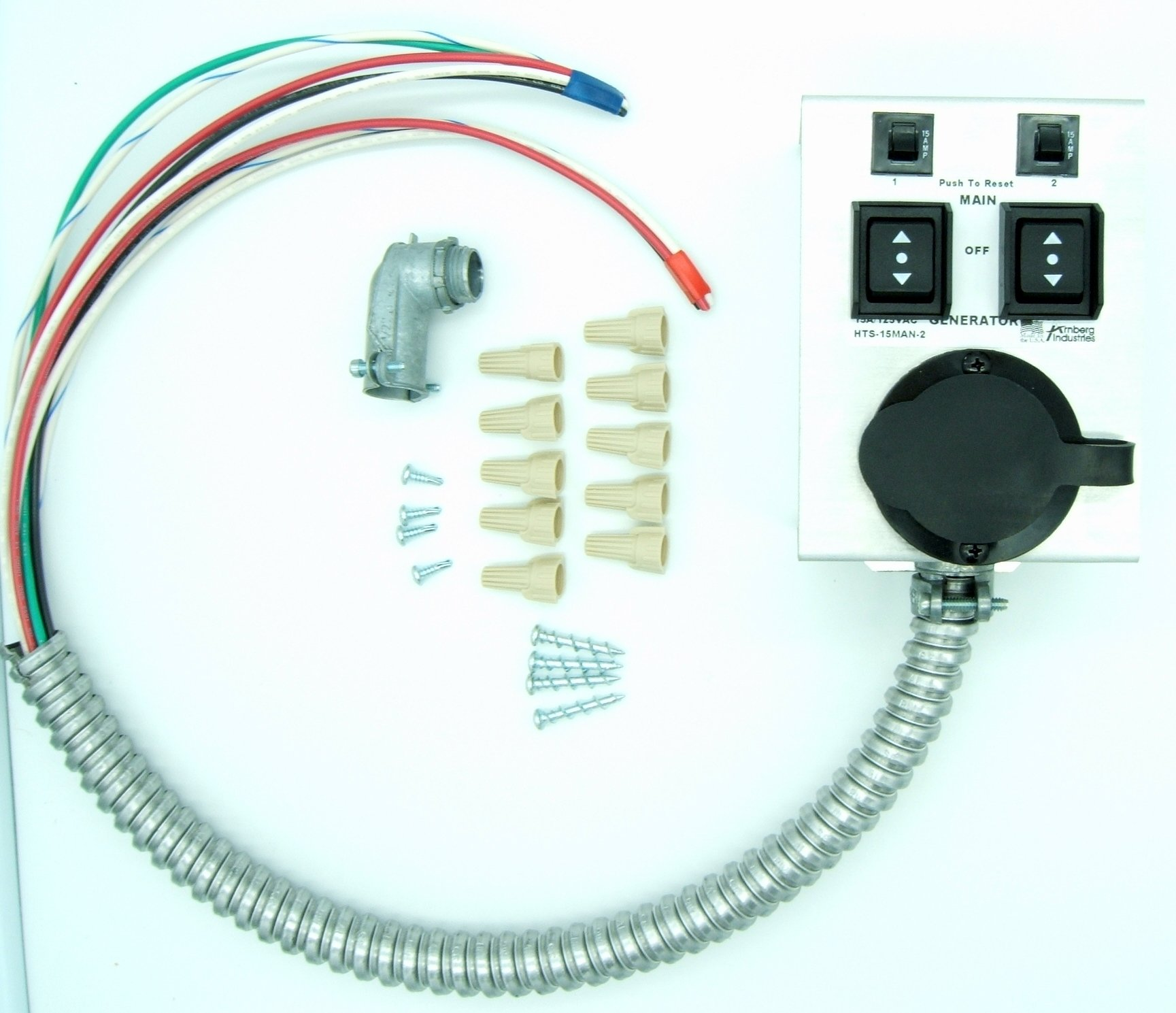 Generator Transfer Switch 2 Circuit For Gas Furnace Sump Pumps How To Install A Easy Diy Universal Kit Manual Use 110v 120v1875 Watts15 Amp Power W 3 Way