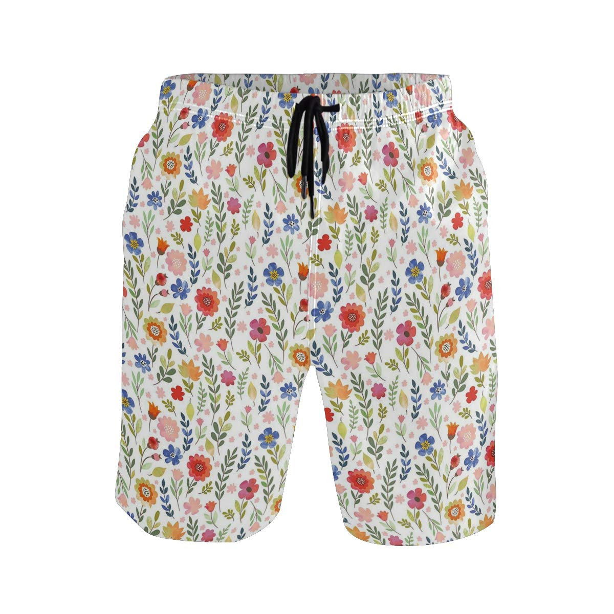 COVASA Mens Summer ShortsFloral Patterned Illustration with Leaves and Wildflo