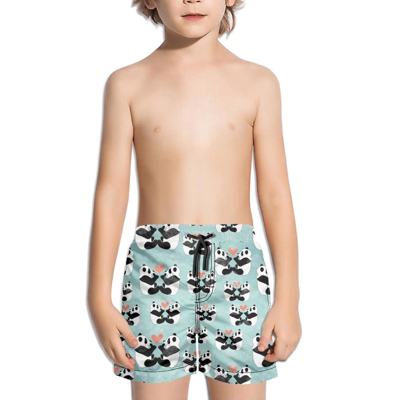Lenard Hughes Boys Quick Dry Beach Shorts with Pockets Panda Bear Love Art Swim Trunks for Summer