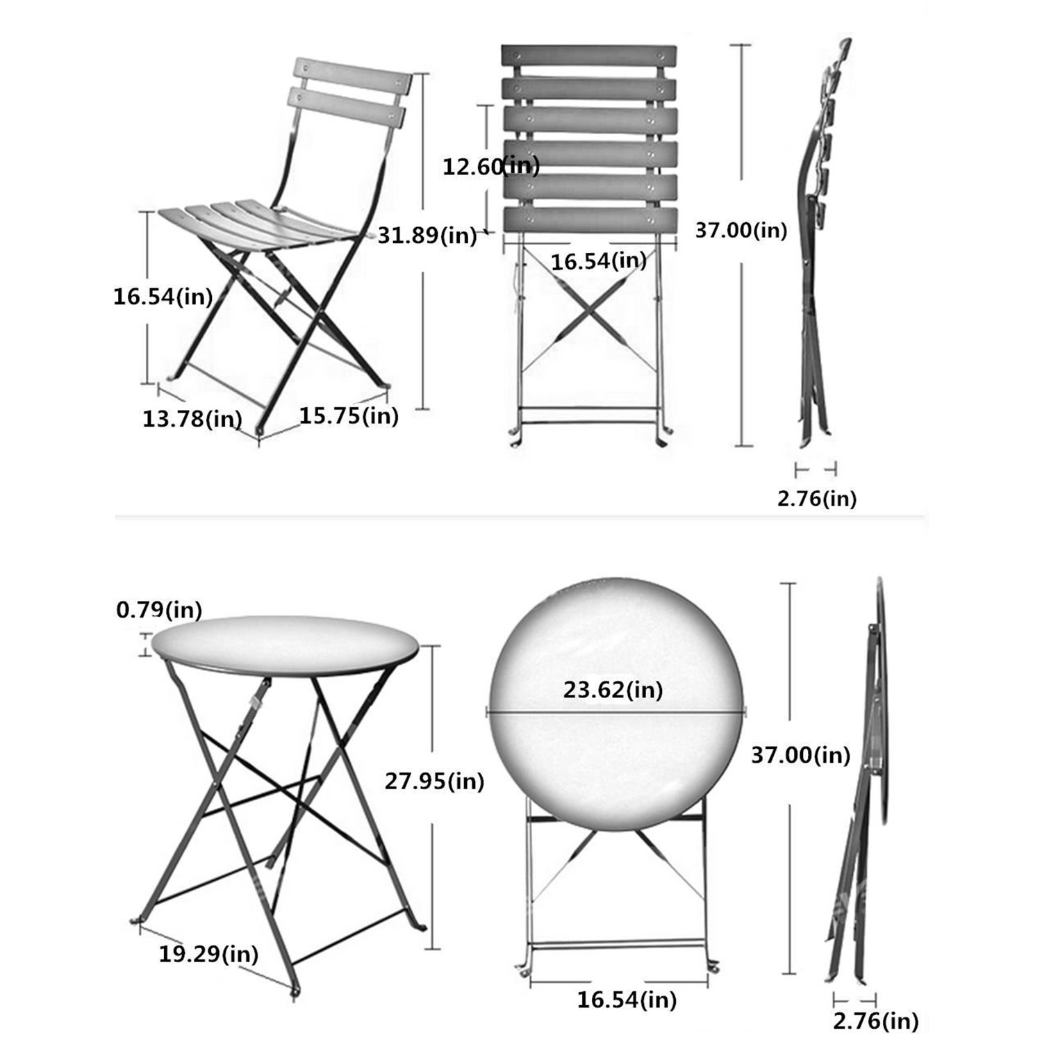 Grand patio 3-Pack Sling Glider Folding Steel 2 Chairs Round Table Indoor Corner Sets,Vivid Green by Grand patio (Image #3)