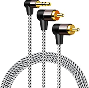 3.5mm to RCA Cable, CableCreation Angle RCA to 3.5mm Y Splitter Stereo Audio Cable, Gold-Plated for TV, Speakers, Home Theater, HDTV, 5FT/1.5M