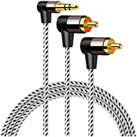 CableCreation 3.5mm to RCA Cable, Angle RCA to 3.5mm Y Splitter Stereo Audio Cable, Gold-Plated for TV, Speakers, Home…
