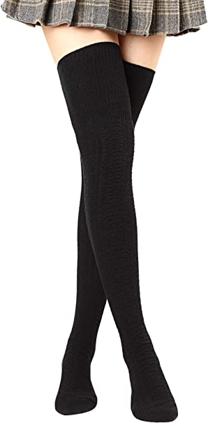 Stylish Women/'s Cable Knit Long Boot Socks Over Knee Thigh High Warm Stocking