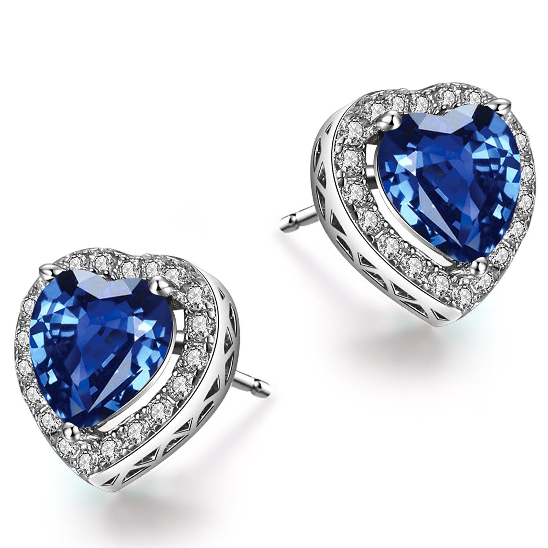 Caperci Sterling Silver Created Blue Sapphire Heart Stud Earrings for Women