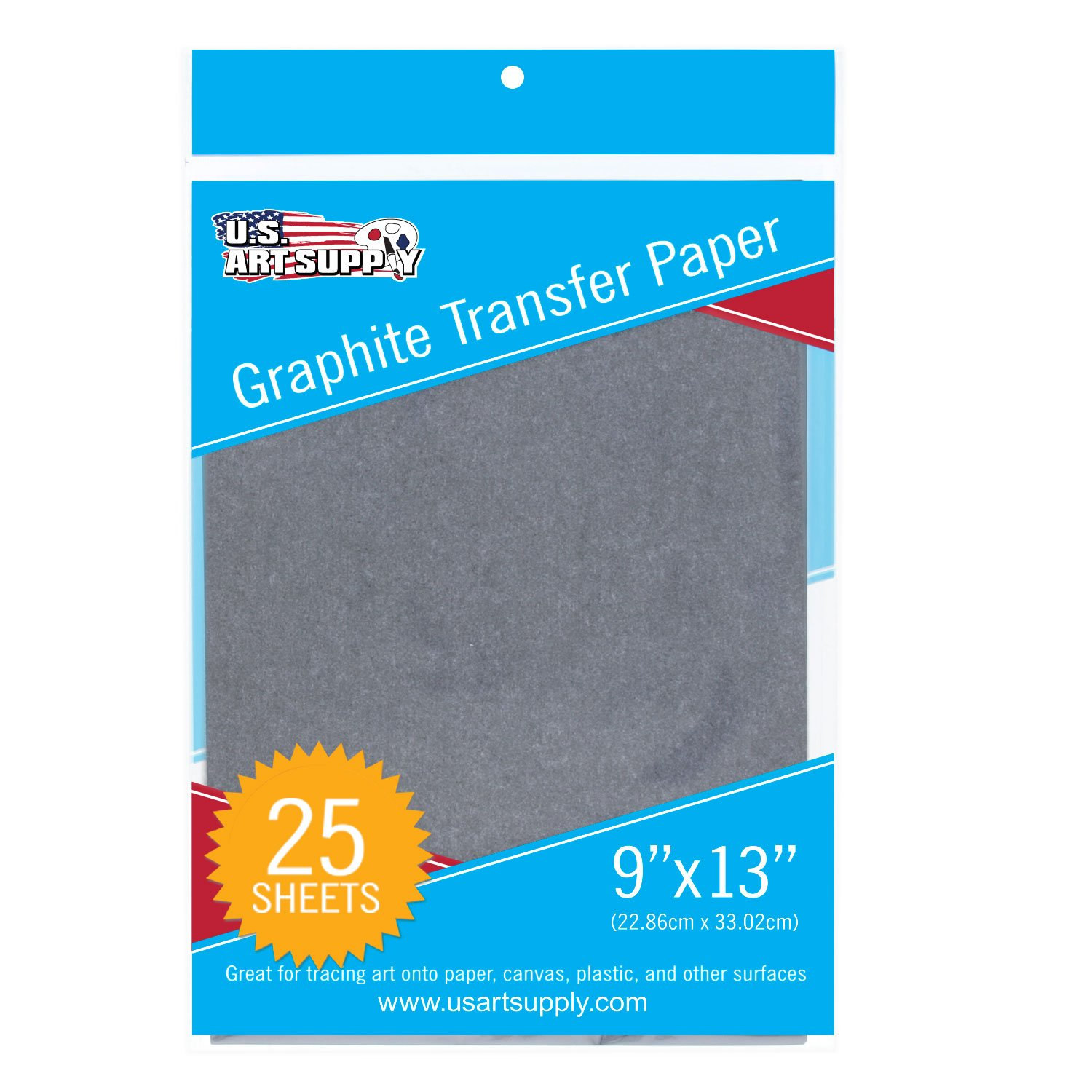 U.S. Art Supply Graphite Carbon Transfer Paper 9 x 13 - 25 Sheets - Black Tracing Paper for all Art Surfaces US Art Supply GTP09X13-25