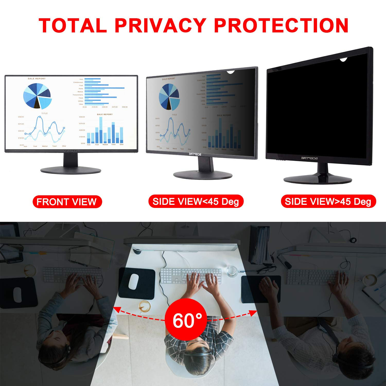 Magicmoon Privacy Filter Screen Protector, Anti-Spy&Glare Film for 23 inch Widescreen Computer Monitor (23'', 16:9 Aspect Ratio) by Magicmoon (Image #2)
