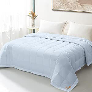 WARMKISS Lightweight Summer Comforter Cooling Down Blanket King,100% Egyptian Cotton Shell,750 Fill Power 15OZ Soft Breathable Duvet Insert,Machine Washable Light Blue