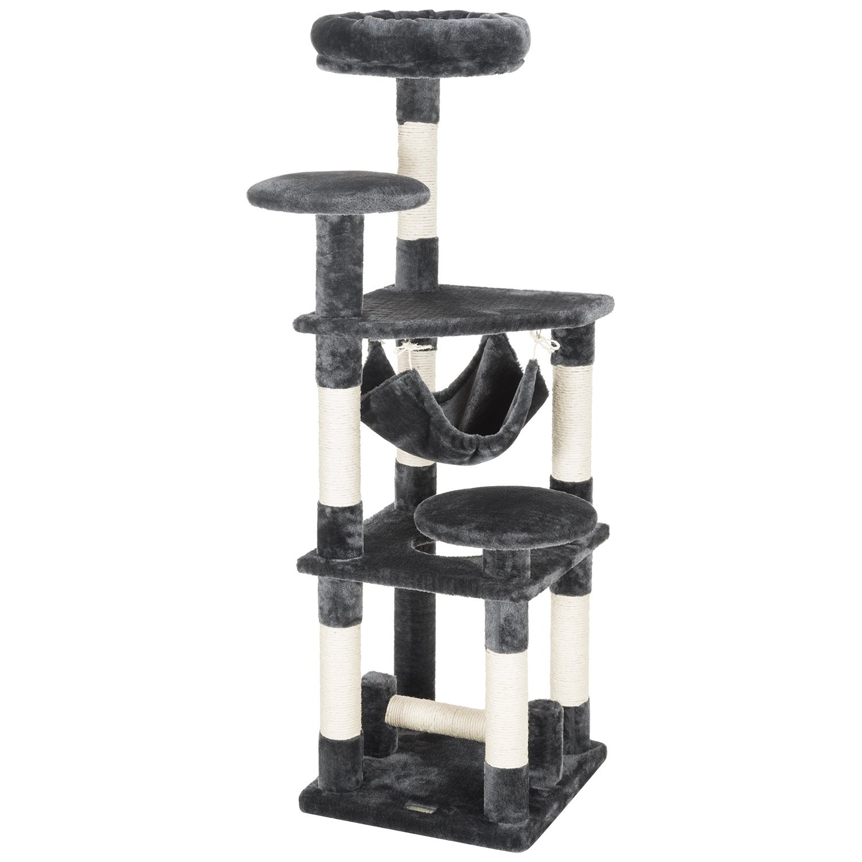 Ollieroo 52'' H Cat Tree Tower Condo Furniture Scratching Post House Three Layers Kitten Condo Pet House (Dark Grey)