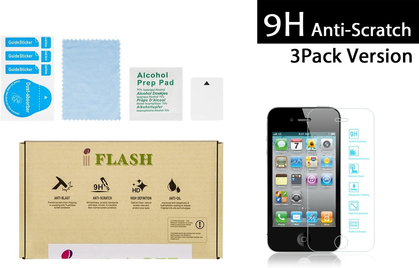 iFlash® 3 Pack of Premium Tempered Glass Screen Protector For Apple iPhone 4S/4 - Transparent Crystal Clear / 2.5D Rounded Edges / 9H Hardness / Scratch Proof / Bubble Free / Oleophobic Coating / 0.3mm Thickness (3Pack, Retail Package)