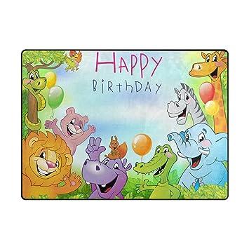 Amazon YZGO Animal Zoo Birthday Greetings Rug Kids Children Area Rugs Non Slip Floor Mat Resting Doormats Baby