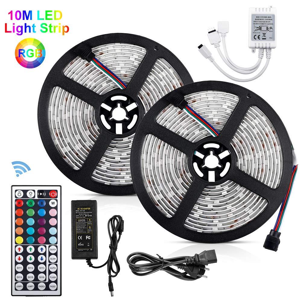 10m LED Ruban 5050 RGB 300 leds IP65 Étanche, Akapola Kit Bande LED RGB+W 2.4W/m Flexible Multicolore Peut-Découpé Clignotant au Néon Decor Rubans Avec Télécommande/IR Récepteur/Alimentation 12V 5A [Classe énergétique A++]