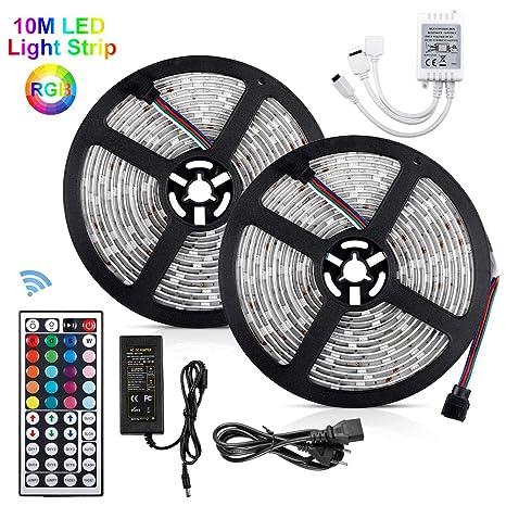 10m Tiras LED 5050 RGB, 300 Leds Tira LED Exterior 12V SMD Akapola Impermeable Multicolor
