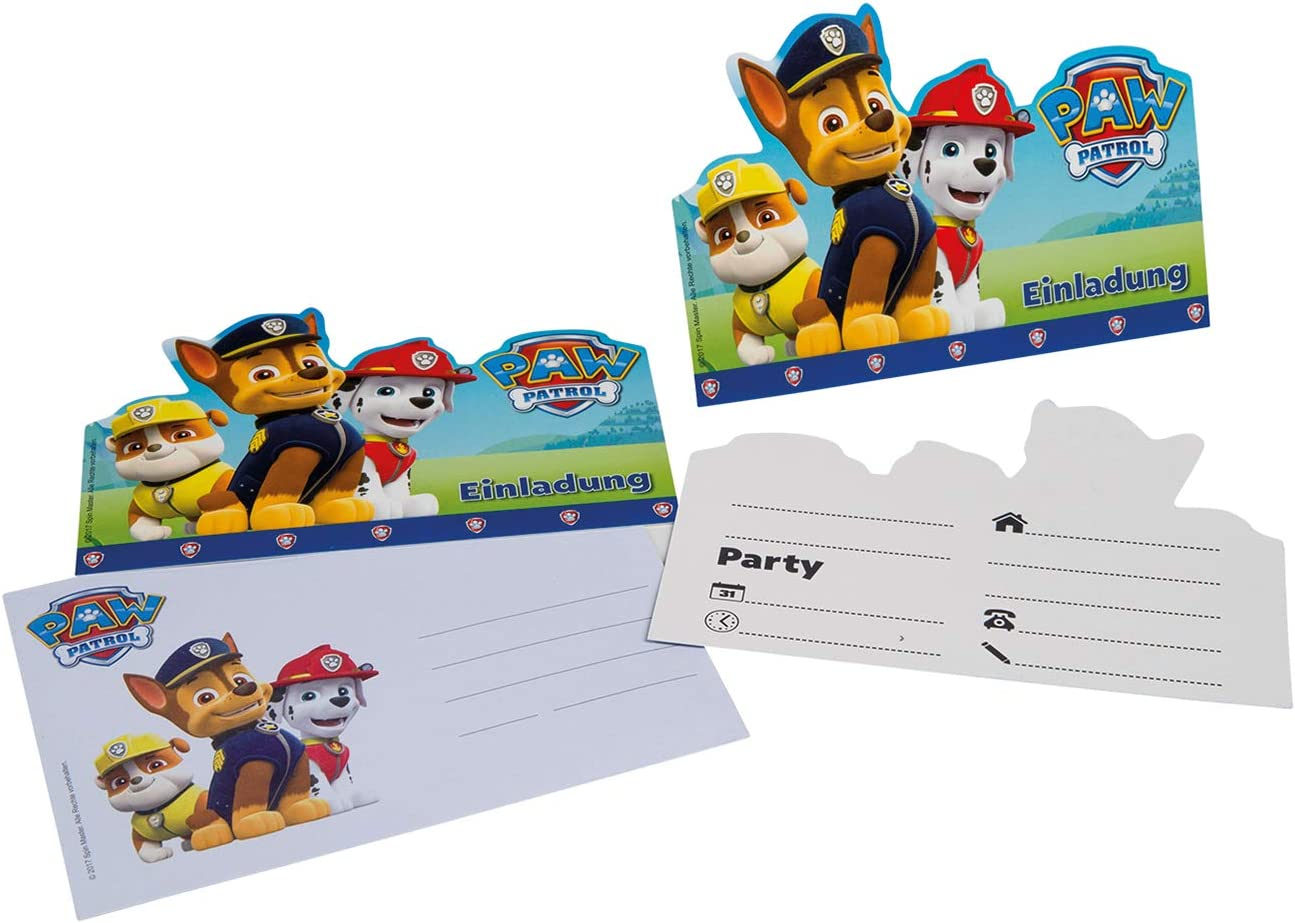 tib 19705 Paw Patrol Invitation Cards A6 with Envelopes C6 Set of 12 Pieces Multicolour One Size