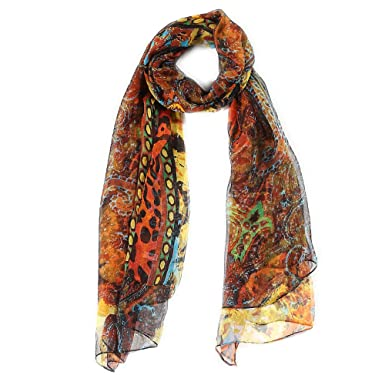 6c75dc05944 5 ALL Écharpe Imprimée Style Naturel Foulard en Soie pour Femme Multicolore  Élégant 177 105cm