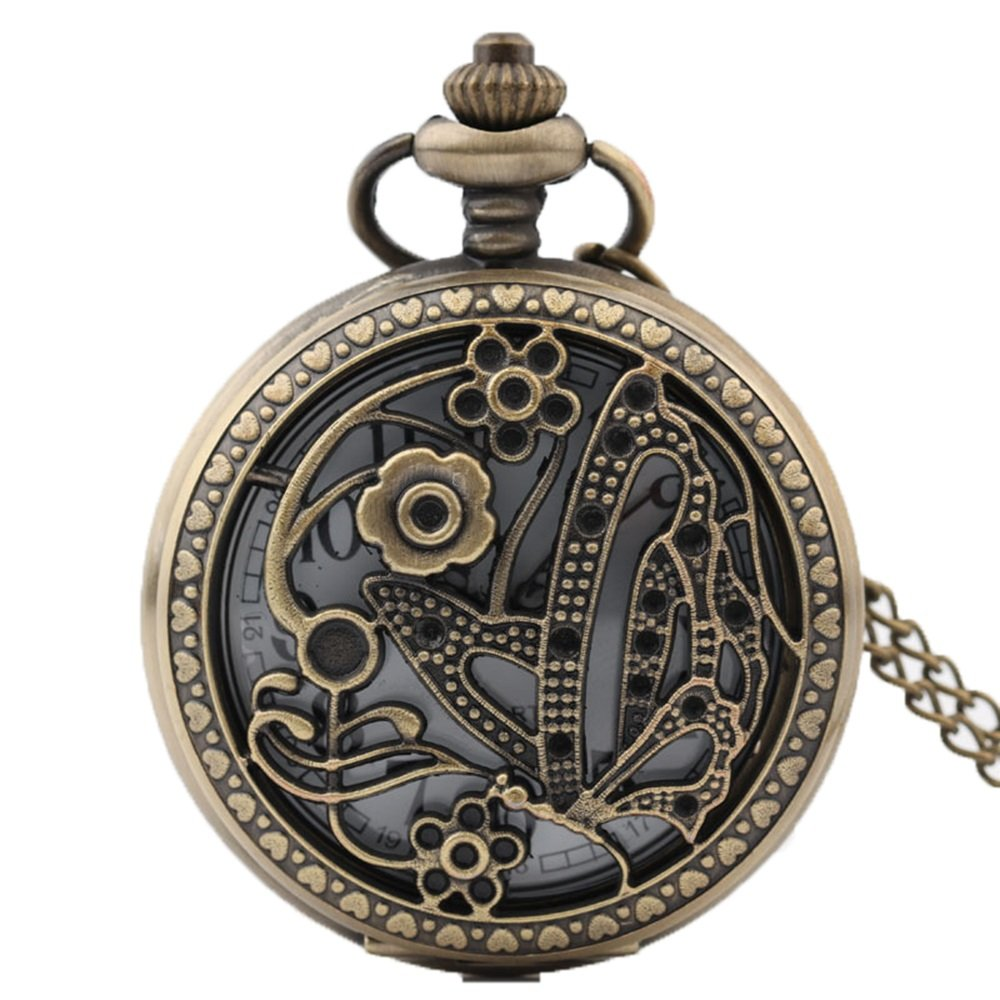 Shirleyle Exquite Flower Carved Vintage Bronze Pocket Watch With Chain For Men Women