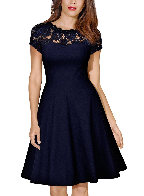 Missmay Women's Vintage Floral Lace Short Sleeve Cocktail Swing Dress, Navy blue Medium