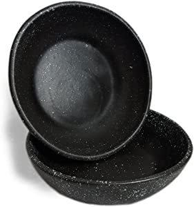 RoRo Ceramic Stoneware Hand-Crafted Bowl Set with Black Speckled Egg Pattern, 7 Inch Set of 2