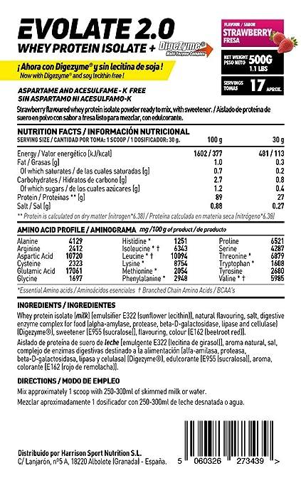 Whey Protein Isolate (WPI) de HSN Sports - Aislado de Proteína de Suero Evolate 2.0 - Sabor Fresa - 500 gr