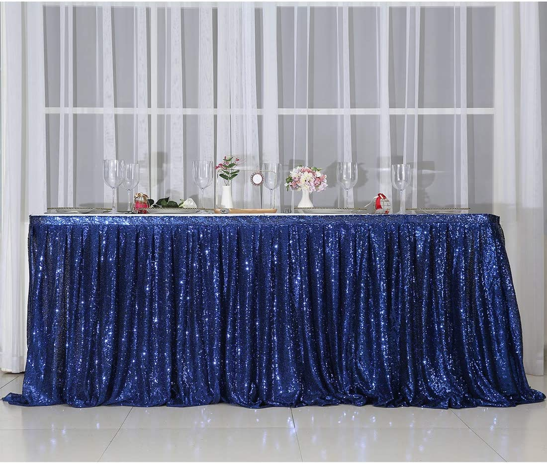 Juya Delight Sequin Table Skirt Rectangle Round Table Cover for Party Wedding Baby Shower Decoration(Rose Gold,L 6 H 30in ) ft